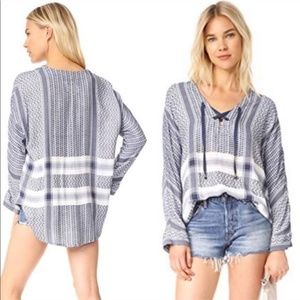 Rails Lily Blouse in Sapphire Jacquard Lace Up
